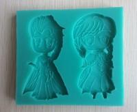 Popular Oscar Movie Frozen Anna and Elsa Cartoon Silicone Baking Mould Army Cake Fondant Sugarpaste Decorating--C366