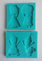 Popular Christmas 2PCS one Set Oscar Movie Frozen Anna and Elsa Olaf Cartoon Silicone Fondant Baking Mould Army Cake Tool--C367