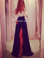 Beautiful eye catching glamorous white and purple v neck with lace sleeves chiffon homecoming party dresses ED64