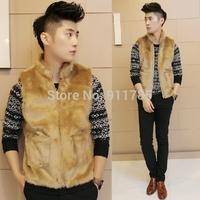 2014 new winter Personalized Imitation rabbit fur stand collar warm Vest men casual slim fit warm vest Outerwear for men ,W181
