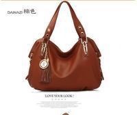 2014 fashion women's handbag genuine leather tassel messenger bag for female / vintage women tote / free shipping