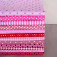 All-match,DIY Craft Base cloth,40cm*50cm 12pcs Pink/Red Polka Dot/Stripe/Check Cotton Fabric for Patchwork,Quilt,Tilda doll