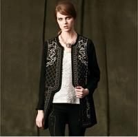 Luxury Runway Brand Designer Handmade Beaded Desigual Baroque Long Trench Coat Winter 2014 Woman Plus Size Cardigan Outerwear