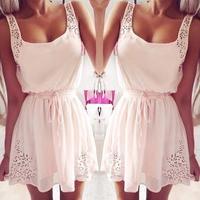 Vestido De Renda Fashion Summer Dress 2014 New Elegant Sleeveless Rhinestone Tunic Mini Party Women Dresses Vestidos Femininas