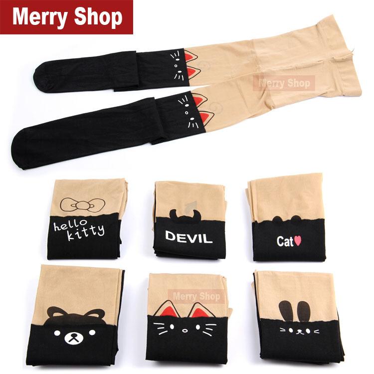 2014 New Kids Hello Kitty Tights Panty hose Personality Stitching Knee Nylon Tattoo Tights pantyhose 6 Style(China (Mainland))