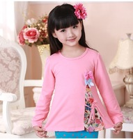 Girls Lace Shirts & Blouses for Summer New 2014 Children Floral Cotton Tops Clothing Princess Kids Tunics Clothes 3-10 Years