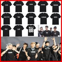 EXO men women couple summer dance EXO xoxo wolf 88 name KRIS TAO LAY KAI LUHAN EXO-K all menbers cotton tee KPOP t shirt