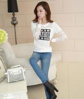 2014 Free Shipping Women Lace Shirt Long Sleeve Shirt Thin Casual Stitching Lace Shirt Black/White RF14101103