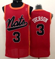 Free Shipping to all country!#3 Allen Iverson 1954-1955 Syracuse Nationals red jersey( all name number stitched!!)