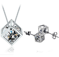 Wholesale (12 sets/lot) Jewelry Sets Crystal Smooth jewelry set CZ Zirconia White Gold Plated Free Shipping Christmas Gift