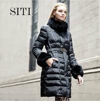SITI 2014 Winter NEW Fashion Womens Down Jacket Rabbit Fur slim mid-long womens outerwear coat Black Beige 14DC028