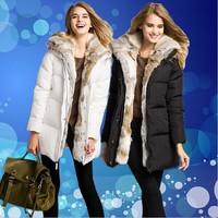 Hot! SITI 2014 NEW luxury high quality Womens Down Jacket 100% Real Rabbit Fur hooded Fashion Down Coat Black White 14DC019