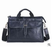 2014 Men's 14-inch notebook computer bag business briefcase geunine leather fashion cross handbag