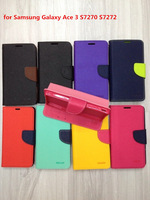 1pcs/lot Colorful MERCURY Leather Case Korea Style Wallet Leather Flip Cover Stand Phone Case for Samsung S7272+Card Slot
