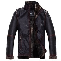 New 2014 winter men's clothing outdoor thick warm PU leather jacket overcoat,fashion male casual sports leather coat 4XL for men