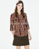 2014 new fashion women casual vintage Cashew printed long sleeve blouse Lady fashion brand design flower shirt #J411