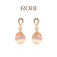 ROXI  Wholesale fashion White Rose Gold Plated Austrian cat eye opal Stud Earrings,20141012-10