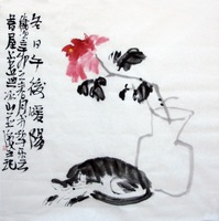 handpainted Original famous Artist decorative rice paper painting Gift Collection wall art home decor painting Peony and cat