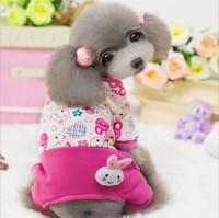 Wholesale Dog Pet Winter Pink Rabbit Clothes Jumpsuit Super Soft Cotton Padded Coat for Dogs Clothes Pet Product 1pcs/lot