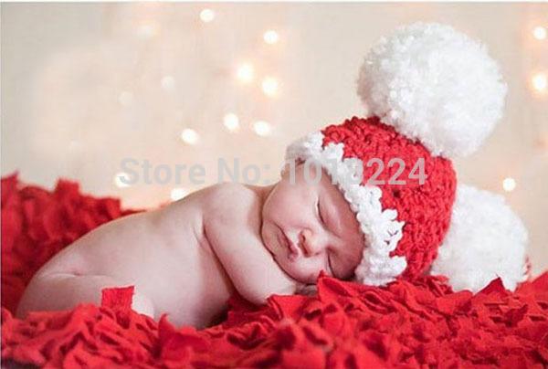 2014 winter Newborn Toddler Beanie Hat Baby Christmas Beanies Handmade Crochet Photography Props Baby Hat babies 0-12 months cap(China (Mainland))