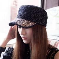 2014 New Fashion Women Korean Lace Exquisite Inlay Rhinestone Snapback Baseball Caps,Female Casual Flat Caps,Free Shipping cm017