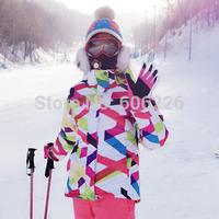 Free Shipping!! 2015 NEW Women 10K Waterproof SKI JKT Snowboard Coat /ski winter coat/ski jacket Flower color
