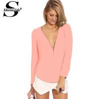 Dropshipping!2014 EUROPE zipper chiffon shirt V-neck long sleeve blouse S-XXL size Top
