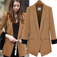 ion 2014 Hitz Europe and the United States women's long sleeved high code suit ladies jacket fashion splicing small suit