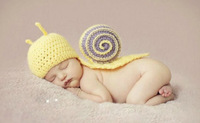 2014 NEW Yellow Snail Caps Toddler Boy Girl Baby Beanie Costume Animal Hats Sets Taking Photo Photography Props Knit Crochet cap