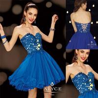 Charming Royal Blue Sweetheart A-line Mini Lace Appliqued Vestidos De Cocktail Dress E204