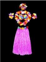 Hawaiian Party Decorations Adult Hula Grass Skirt Necklace Wrist Bra Luau Party Supplies Skirts 60cm