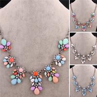 New Fashion Jewelry Brand Luxury Bohemia Jewellery  Women Flower Bib Statement Necklace VFN160