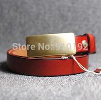 Korean fashion women's copper belt buckle leisure wild female models pure leather belt plate narrow section