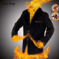 [Original design ] Autumn men's clothes Thick fur collar lapel man youth cashmere single breasted clothes 3 Color Size: M - XXXL