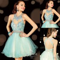 Sexy Blue Heavy Beaded A-line Mini See Through Back Summer Dress 2014 E203