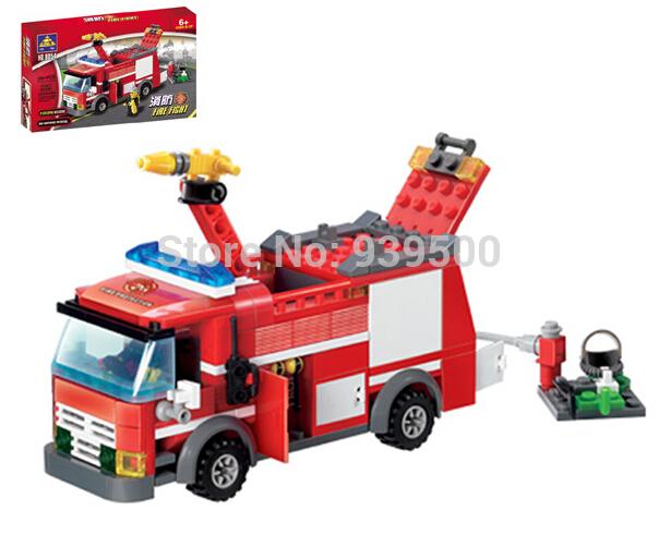 Free shipping! KAZI FIRE TRUCK SERIES 8054 206 PCS FIRE Water artillery ASSEMBLING BUILDING BRICK SETS KIDS CREATIVITY TRAINING(China (Mainland))