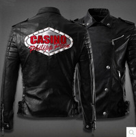 Free Shipping  Slim Short Paragraph Leather Jacket CAS PU Motorcycle Jackets For Men Turn-down Collar Black Jacket M--3XL