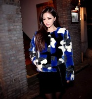 Free shipping 2014 winter new Korean ladies round neck color leopard camouflage leather jacket fluffy grass