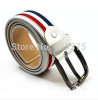 Hot ! 2014 New Design brand Men's Belt Unisex Classic Fashion Durable Canvas Stripe Men PU Belts Length 108CM belt Free shipping