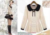 Dropshipping!2014 Autumn women LaceShirt long sleeve top slim blouse S,M,L size