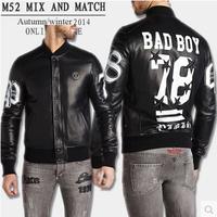 Autumn Winter  Bad Bo No. 87 Five Star Perfect Printing Leather Jacket  Black Mandarin Collar Men Jacket  M--2XL