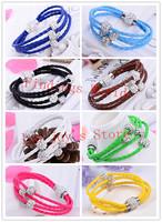 Free Shipping 16Color TOP Quality PU Leather Trendy Charm Bracelets Handmade Shamballa Bracelets With Magnetic Clasp Bracelets