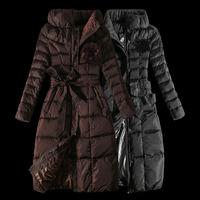 New 2014 Fashion Brand Long Winter Coat Jacket Women White Duck Down Jacket Female Down Parka Coat Brown Black Outwear For Women