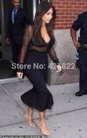 2014 new arrival  high quality black long maxi mesh bandage Celebrity dress Party Evening Dresses HL