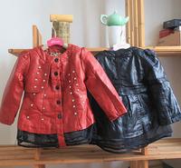 wholesale(5pcs/lot)-2015 winter  lace rivet leather jackets for child girl