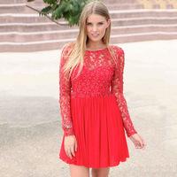 2014 new women's long sleeve autumn European sexy lace stitching chiffon halter women dress wholesale