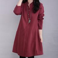 Free shipping 2014 Autumn Korean Women round neck long-sleeved cotton dress big yards fashion casual cotton dresses +wholesale