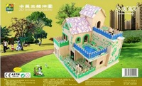 2014 new puzzle buildings model doll house DIY assembling toys for children