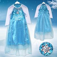 Romance Long Sleeve Dress Frozen Princess Elsa Dress Mesh Sequined Stage Performances Girl Dress 5pcs/Lot Girl Cosplay Dress