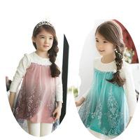 Frozen Elsa Snow Romance Korean Girls Long-sleeved Embroidered Gauze Princess Suit Dress + Legging Sets 5 Sets/Lot Free Shipping